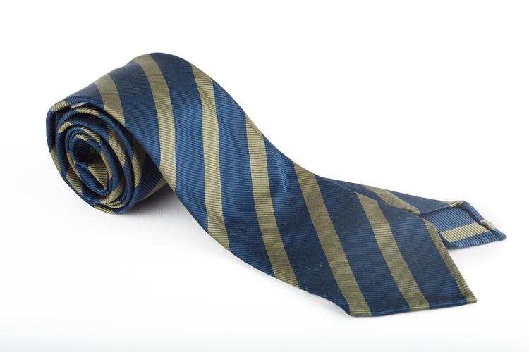 Silk Regimental Untipped - Navy Blue/Olive Green