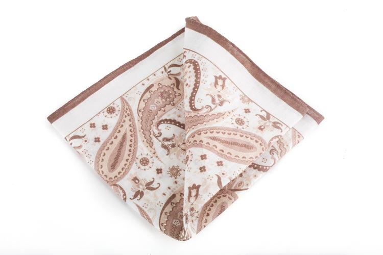 Linen Paisley - Beige/White