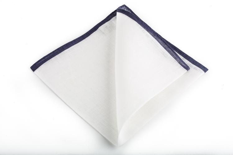 Linen Candy Stripe - White/Navy Blue