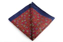Sella Vintage Silk Pocket Square - Burgundy/Orange/Green/Navy Blue