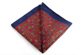 Sella Vintage Silk Pocket Square - Burgundy/Orange/Green/Navy Blue