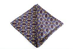 Floral Vintage Silk Pocket Square - Navy Blue/Light Blue/Yellow/Burgundy
