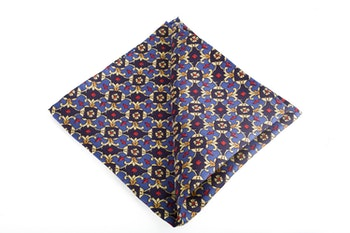 Floral Vintage Silk Pocket Square - Navy Blue/Light Blue/Yellow/Burgundy