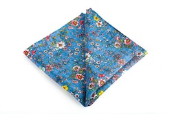 Floral Vintage Silk Pocket Square - Light Blue/Red/Yellow/White