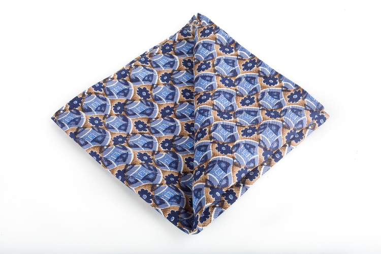 Silk Floral Vintage - Light Blue/Navy Blue/Beige