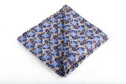 Floral Vintage Silk Pocket Square - Light Blue/Navy Blue/Beige