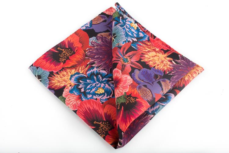 Floral Vintage Silk Pocket Square - Red/Cerise/Light Blue/Orange/Green