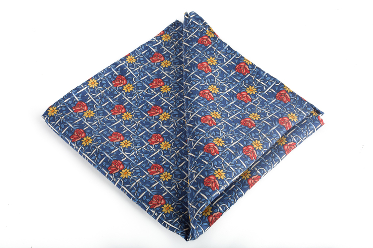 Silk Floral Vintage - Navy Blue/Light Blue/Red/Orange