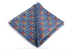 Floral Vintage Silk Pocket Square - Navy Blue/Light Blue/Red/Orange