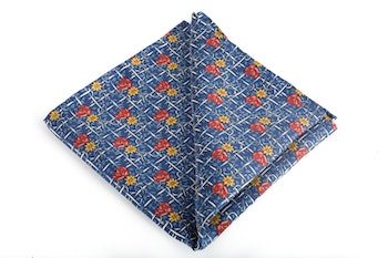 Floral Vintage Silk Pocket Square - Navy Blue/Light Blue/Red/Orange