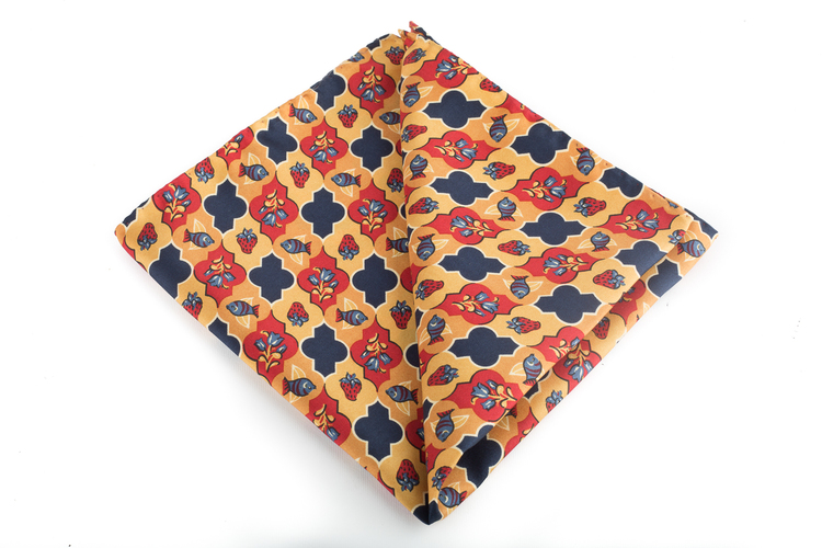 Floral Vintage Silk Pocket Square - Orange/Burgundy/Navy Blue
