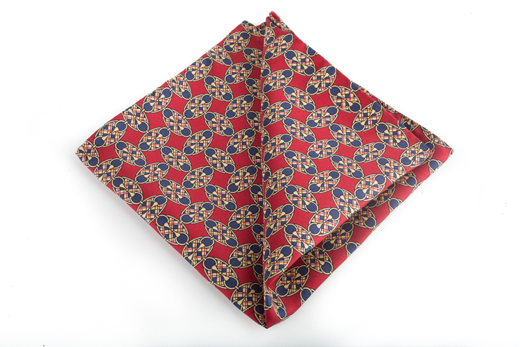 Oval Vintage Silk Pocket Square - Burgundy/Navy Blue/Gold