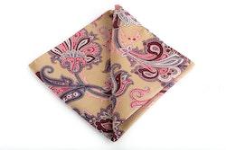 Floral Vintage Silk Pocket Square - Beige/Burgundy/Pink
