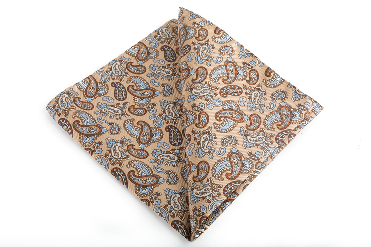 Paisley Vintage Silk Pocket Square - Beige/Brown/Light Blue