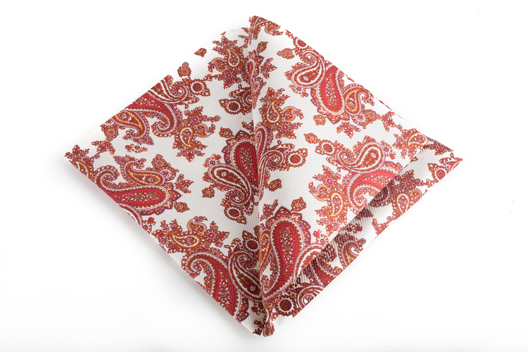 Paisley Vintage Silk Pocket Square - White/Orange/Red