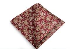 Paisley Vintage Silk Pocket Square - Burgundy/Beige