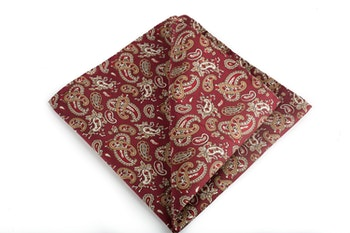Paisley Vintage Silk Pocket Square - Burgundy/Beige