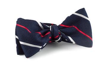 Regimental Grenadine Bow Tie - Navy Blue/Red/White