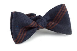 Self tie Shantung Regimental - Navy Blue/Brown
