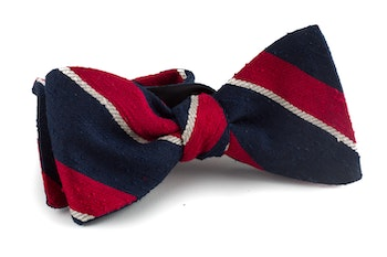 Self tie Shantung Regimental - Navy Blue/Red/White