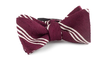 Self tie Shantung Regimental - Burgundy/White