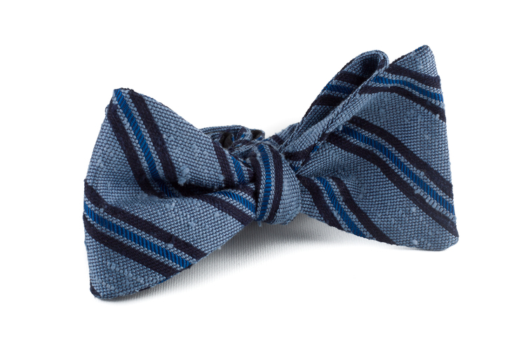 Self tie Shantung Regimental - Light Blue/Navy Blue