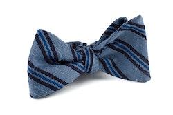 Self tie Shantung Regimental - Light Blue/Navy Blue