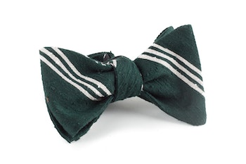 Self tie Shantung Regimental - Dark Green/White