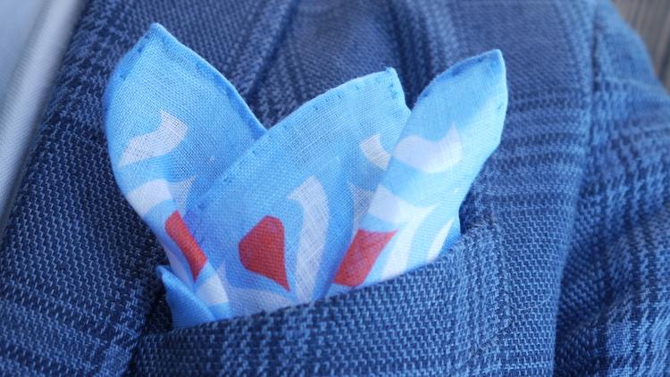 Cipolle Linen Pocket Square - Light Blue/Orange/White