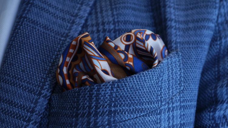 Silk Fiori - Orange/Navy Blue/Light Blue/White