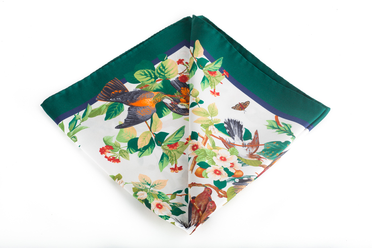 Silk Floral Bird - White/Green (45x45)
