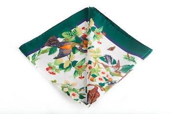 Silk Floral Bird - White/Green (45x45)