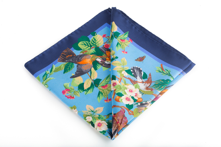 Silk Floral Bird - Light Blue/Navy Blue (45x45)