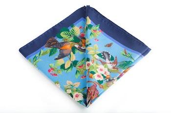 Silk Floral Bird - Light Blue/Navy Blue (45x45)