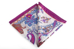 Silk Paisley - Beige/Light Blue/Cerise (45x45)