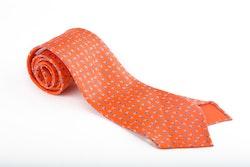 Floral Printed Silk Tie - Untipped - Orange/Light Blue