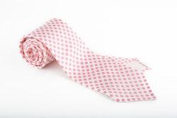 Circle Printed Silk Tie - Untipped - White/Pink