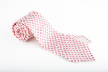 Circle Printed Silk Tie - Untipped - White/Pink