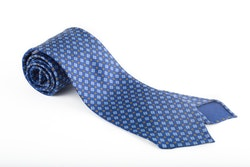 Floral Printed Silk Tie - Untipped - Mid Blue/Beige/White