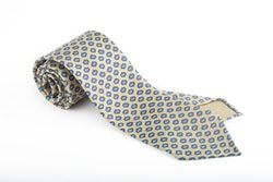 Diamond Printed Silk Tie - Untipped - Beige/Light Blue