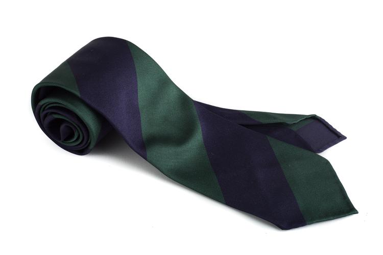 Silk Regimental Blockstripe Untipped - Navy Blue/Dark Green