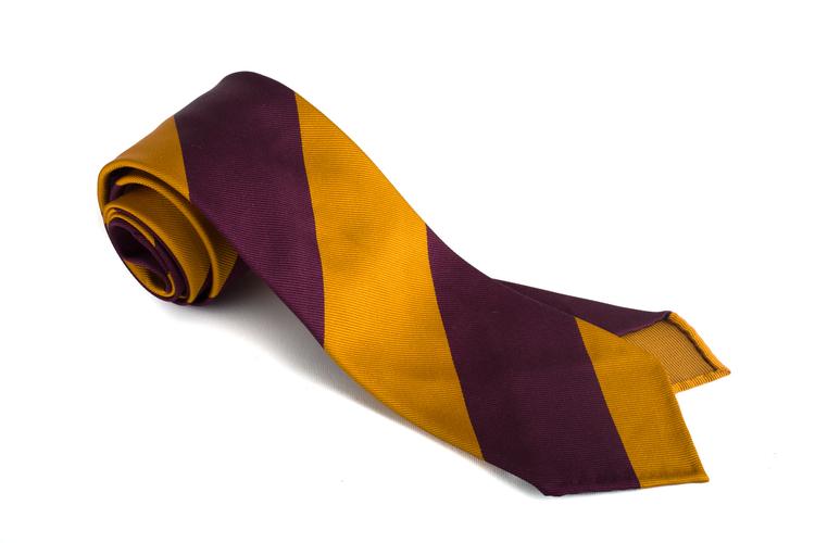 Silk Regimental Blockstripe Untipped - Yellow/Burgundy