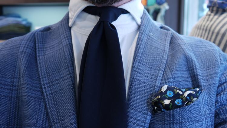 Floral Wool Untipped Tie - Navy Blue