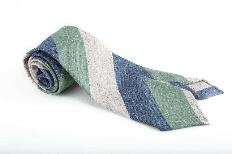 Cotton/Silk Regimental Untipped - Grey/Navy/Green