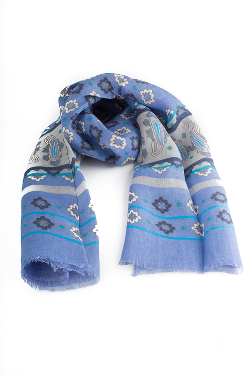 Scarf Medallion/Paisley - Violette/Grey/Turquoise