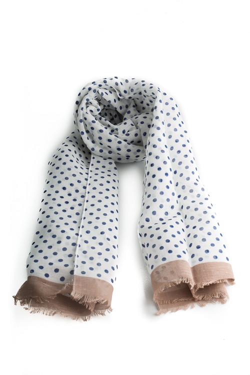 Scarf Polka Dot - White/Navy Blue/Beige