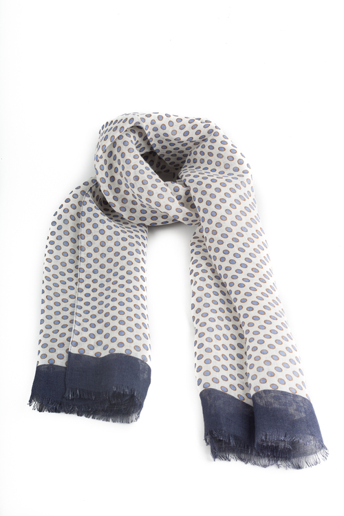 Scarf Polka Dot - White/Light Blue/Navy Blue