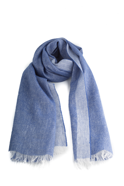 Scarf Solid Cashmere/Linen - Blue