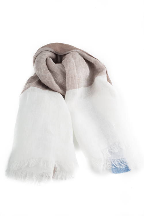 Scarf Linen - Creme/Brown/Navy Blue