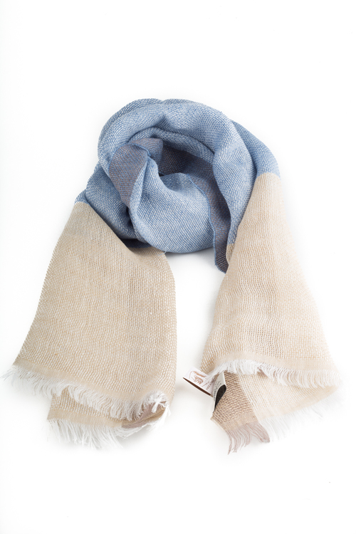 Scarf Linen - Creme/Light Blue